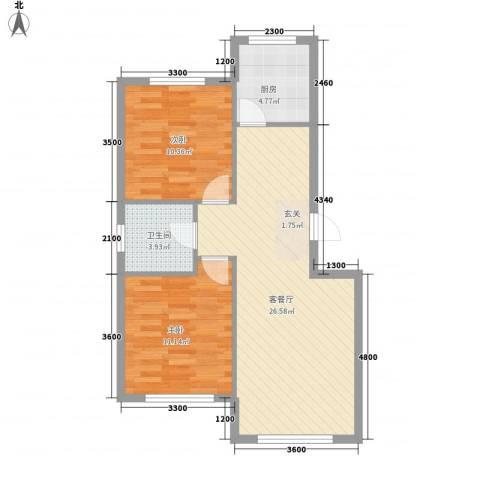 天玺星月湾2室1厅1卫1厨79.00㎡户型图