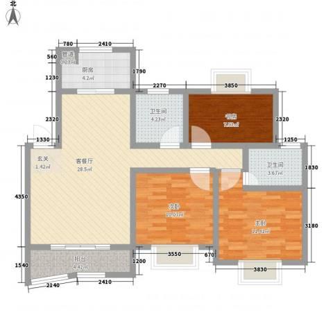 丹霞磬苑3室1厅2卫1厨87.40㎡户型图