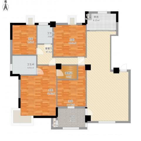 骏景华庭4室1厅2卫1厨182.00㎡户型图