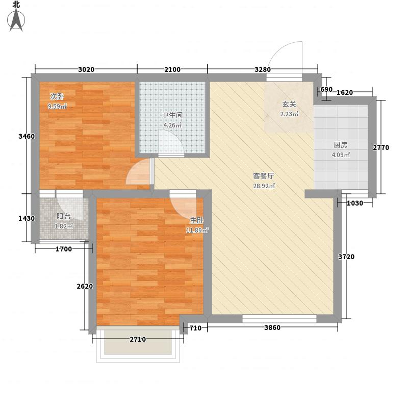 昊宇 山海湾2室1厅1卫0厨56.49㎡户型图