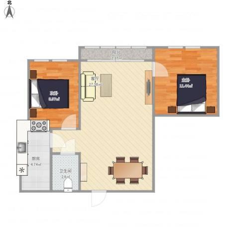 泰和佳园2室1厅1卫1厨77.00㎡户型图