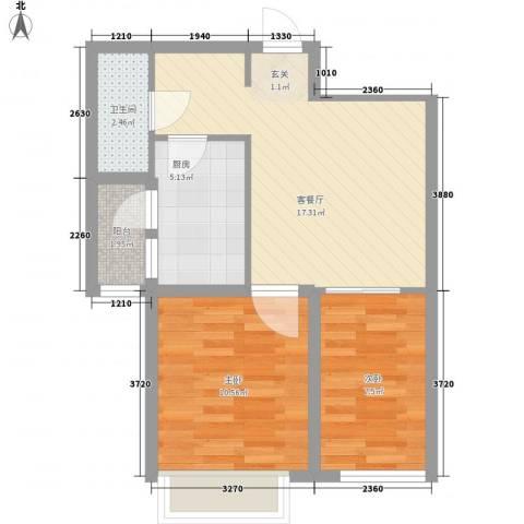 上东大道2室1厅1卫1厨65.00㎡户型图
