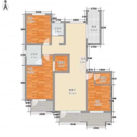 藁城理想城3室1厅2卫1厨136.00㎡户型图
