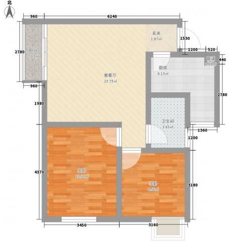 上东大道2室1厅1卫1厨84.00㎡户型图