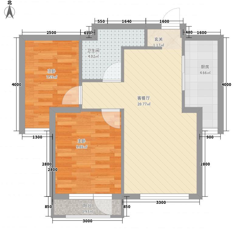 美利山71.00㎡27、28号楼G户型2室2厅1卫1厨