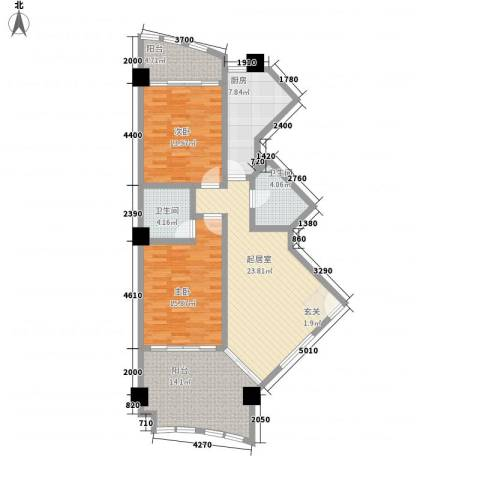 三亚湾海韵度假酒店2室0厅2卫1厨115.00㎡户型图