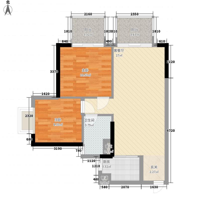 万科�境86.00㎡A7栋04单元户型2室2厅1卫1厨