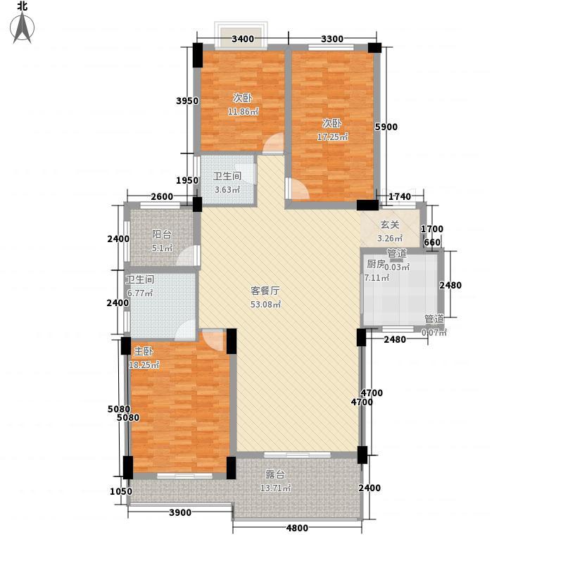中铁世纪金桥153.80㎡3、5、6号楼K3户型3室2厅2卫1厨