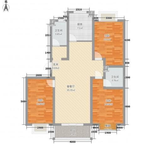 滨海花园3室1厅2卫1厨123.00㎡户型图