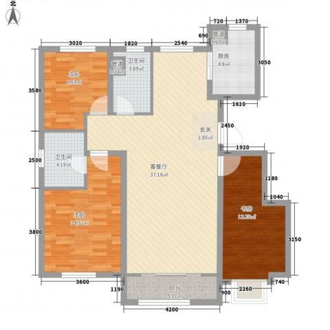 海昌天澜3室1厅2卫1厨128.00㎡户型图
