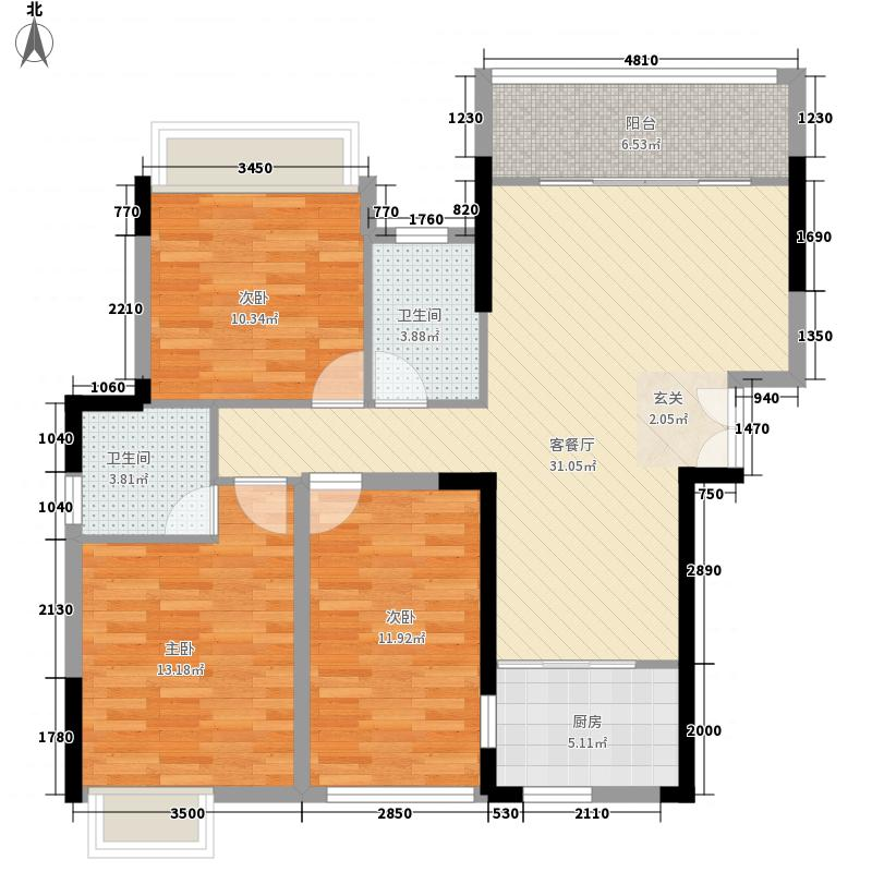中威中心城3室1厅2卫1厨121.00㎡户型图