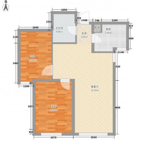 海昌天澜2室1厅1卫1厨93.00㎡户型图