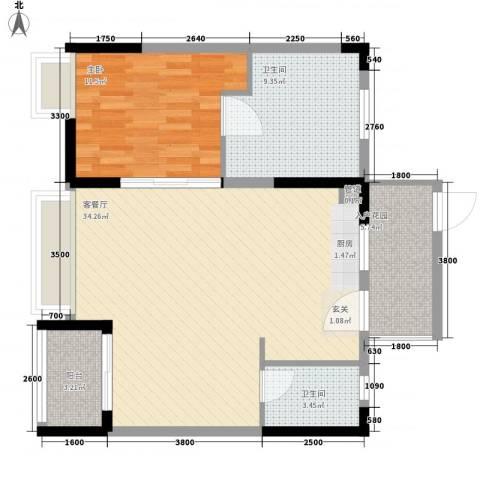万科棠樾1室1厅2卫0厨95.00㎡户型图