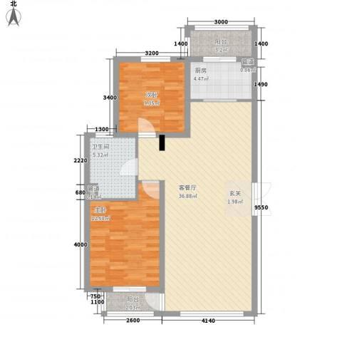 香木小区2室1厅1卫1厨106.00㎡户型图