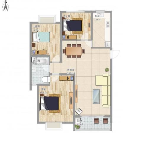 晶御中央御府3室1厅1卫1厨121.00㎡户型图