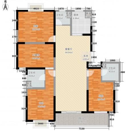 黄山湖公馆4室1厅3卫1厨199.00㎡户型图