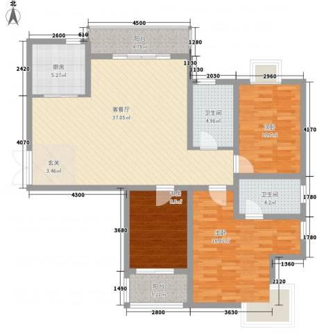 静海苑3室1厅2卫1厨109.63㎡户型图