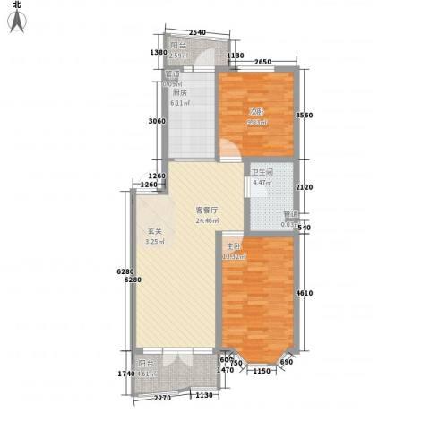 湖畔绿色家园2室1厅1卫1厨94.00㎡户型图