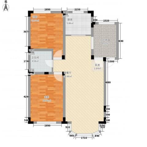 中铁十三局2室1厅1卫1厨120.00㎡户型图
