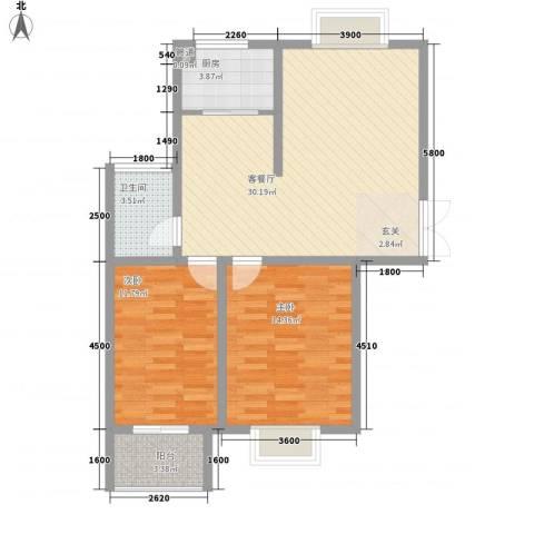港利・锦绣江南2室1厅1卫1厨96.00㎡户型图