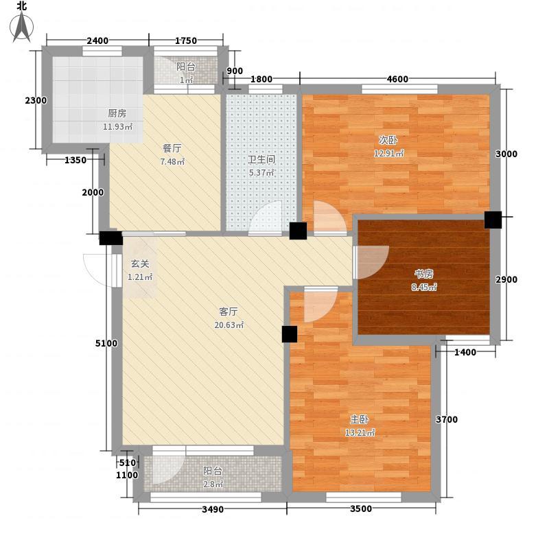 美利山14.00㎡25、26号楼J户型3室2厅1卫1厨