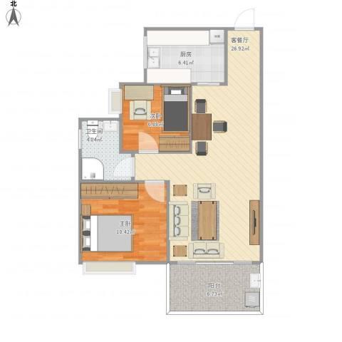 恒达永安广场2室1厅1卫1厨83.00㎡户型图