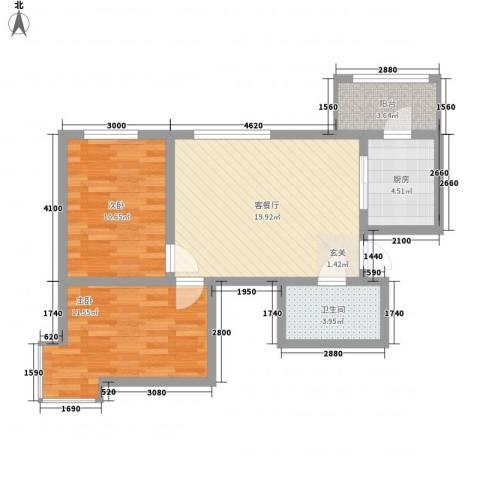 永华新城2室1厅1卫1厨78.00㎡户型图