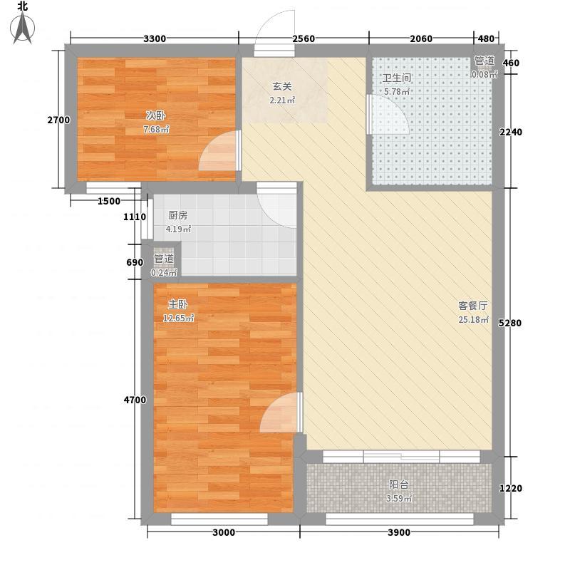 憬园3期上河�珠8.00㎡6号楼E4户型2室2厅1卫1厨