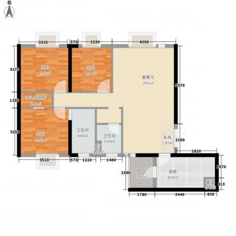 西雅图3室1厅2卫1厨120.00㎡户型图