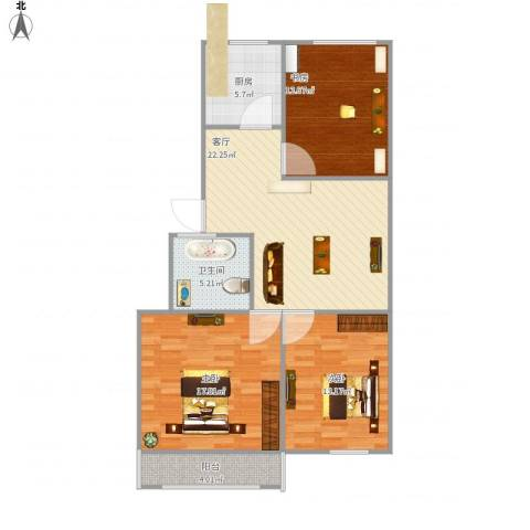 蟠桃花园3室1厅1卫1厨108.00㎡户型图