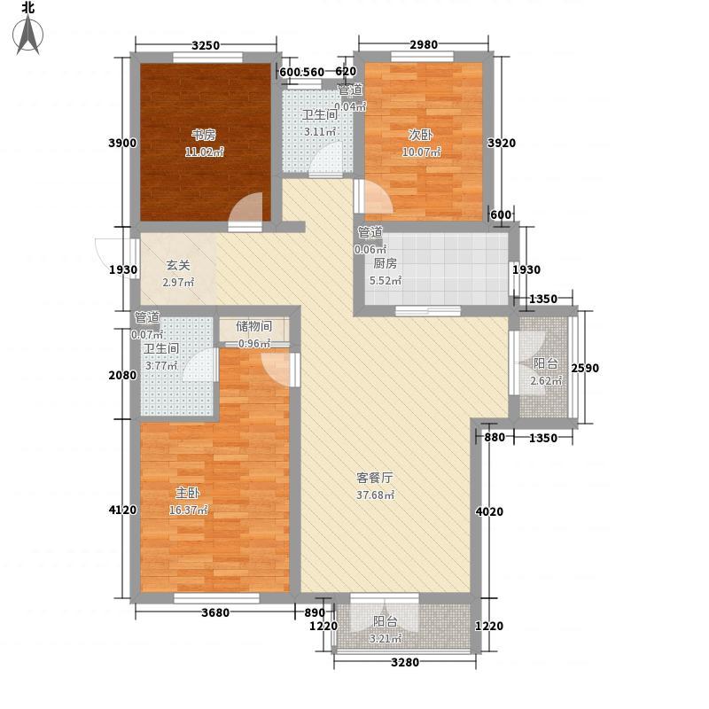 丽都景苑二期3室1厅2卫1厨131.00㎡户型图