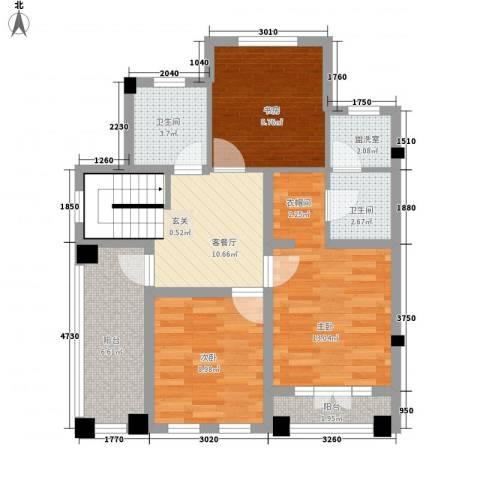 玖岛梦3室1厅2卫0厨88.00㎡户型图