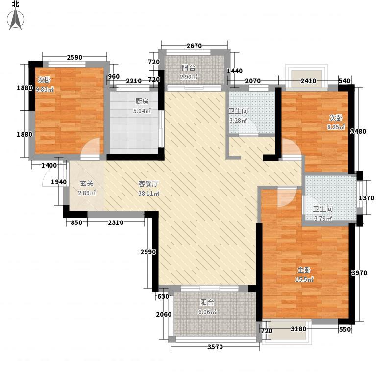 中大十里新城3室1厅2卫1厨124.00㎡户型图