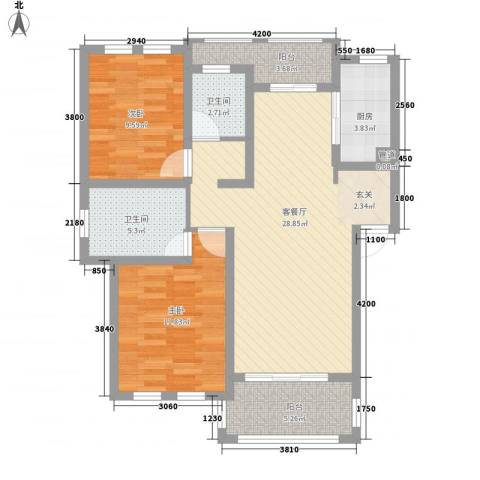 衡山城2室1厅2卫1厨83.40㎡户型图