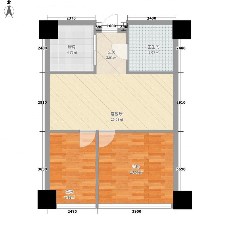 苏宁生活广场76.00㎡A栋、B栋F户型2室2厅1卫