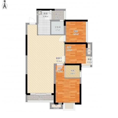 三正卧龙山一号4室1厅1卫1厨105.00㎡户型图