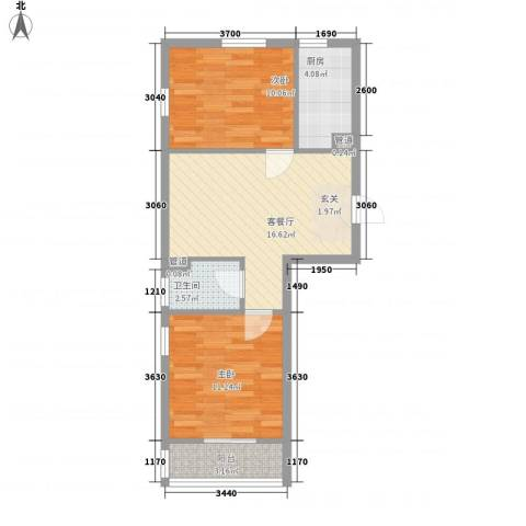 富城铭邸2室1厅1卫1厨68.00㎡户型图