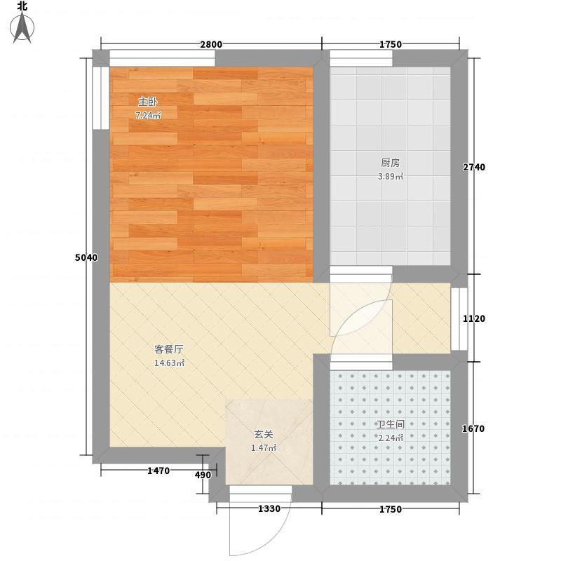 富润阳光0室1厅1卫1厨30.00㎡户型图