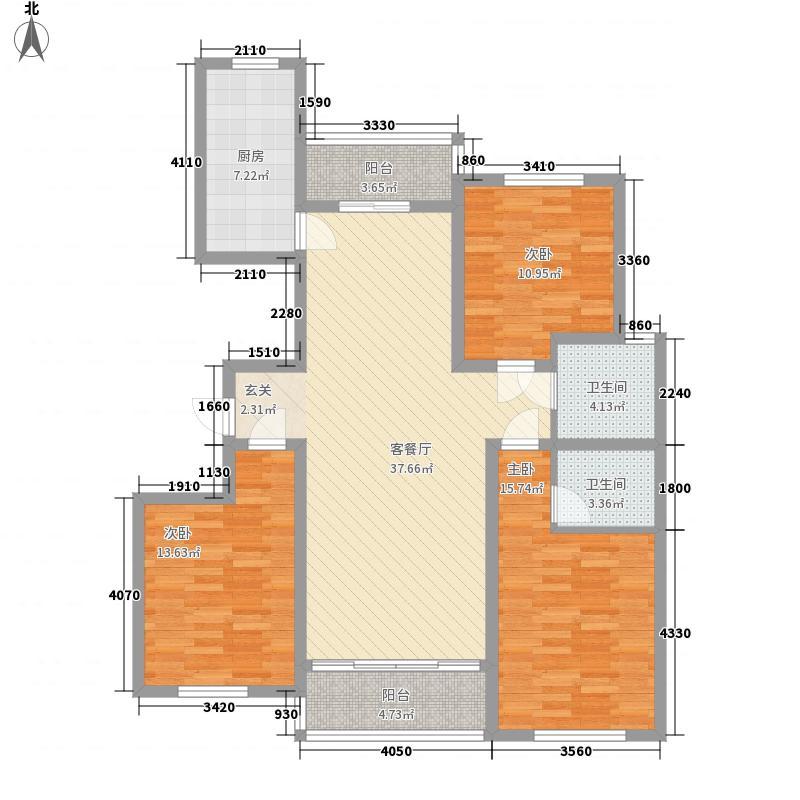 水岸华庭145.00㎡高层住宅户型3室2厅2卫1厨