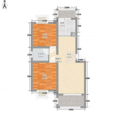 文元学府2室1厅1卫1厨78.00㎡户型图