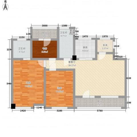 富城铭邸3室1厅2卫1厨125.00㎡户型图
