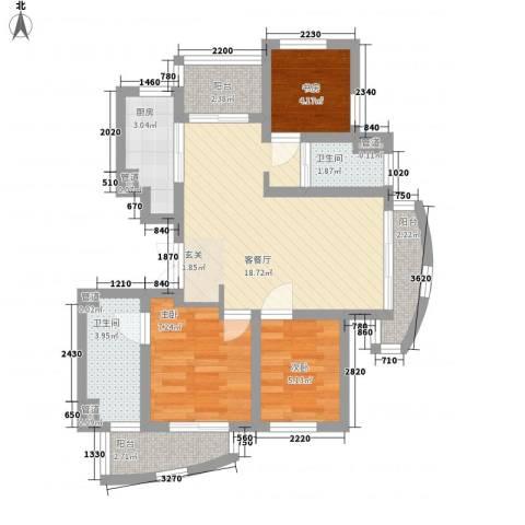 枫津新村3室1厅2卫1厨80.00㎡户型图