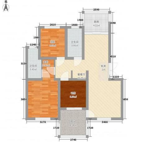 枫津新村3室1厅2卫1厨103.00㎡户型图