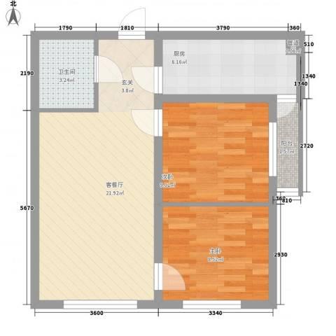 红龙湾2室1厅1卫1厨84.00㎡户型图