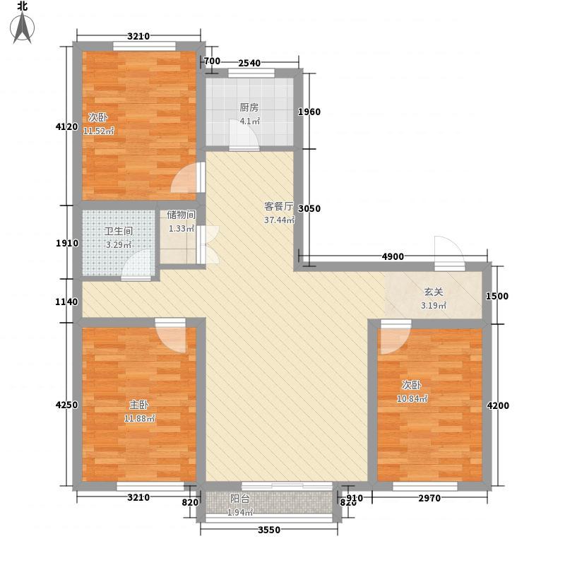 丽都景苑二期3室1厅1卫1厨82.34㎡户型图