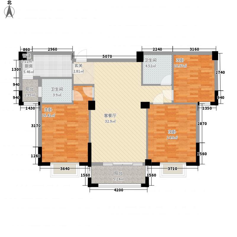龙盛・华府121.00㎡1期7#栋标准层B户型3室2厅2卫1厨