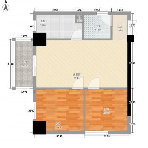 德威御园2室1厅1卫1厨78.00㎡户型图