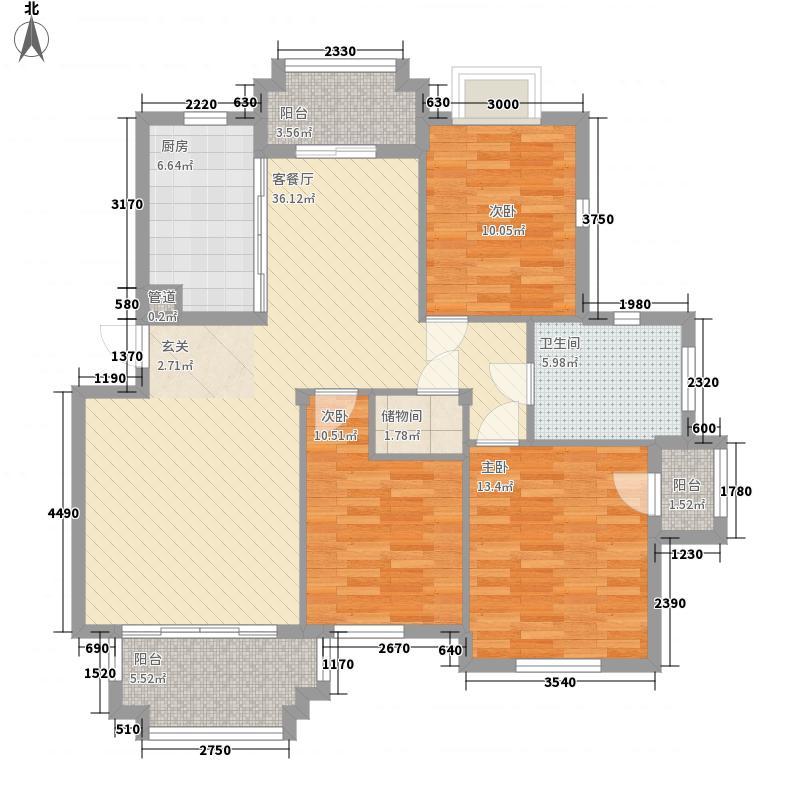 东明花园C户型3室1厅1卫1厨