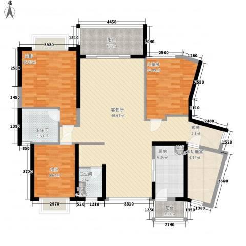 天峦湖3室1厅2卫1厨164.00㎡户型图