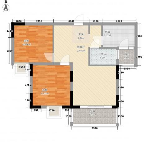 越秀祥龙苑2室1厅1卫1厨88.00㎡户型图